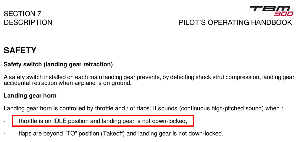 landing gear warning always on almost idle, also when too